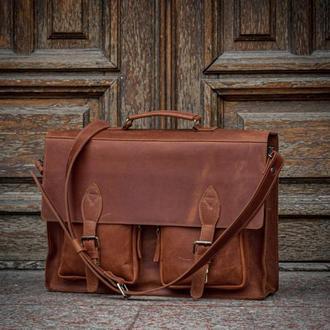 Мужской кожаный портфель, Деловая сумка для ноутбука и документов