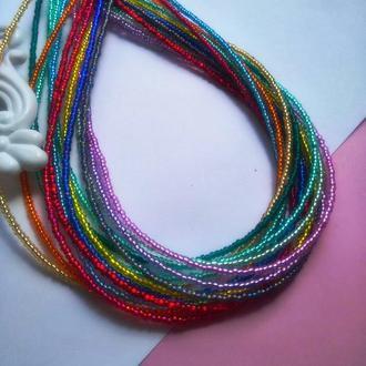 Многорядное цветное яркое колье-чокер. Индивидуальный заказ