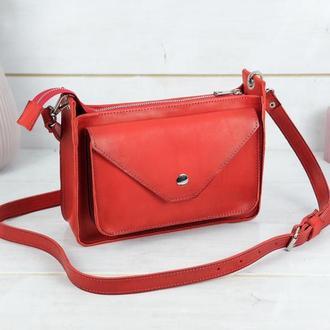 """Кожаная женская сумочка """"Уголок"""", кожа итальянский краст, цвет красный"""