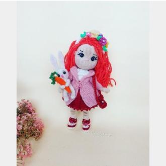 Кукла с одеждой .Интерьерная, игровая, вязаная, подарочная  куколка на каркасе