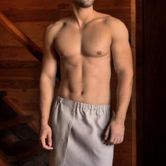 Чоловічий рушник для лазні з натурального льону