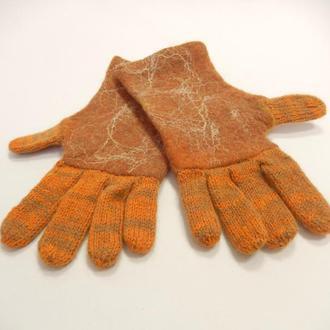Перчатки валяно-вязанные/Рыжики