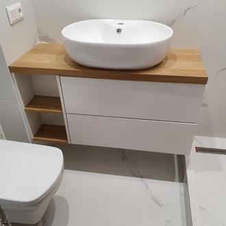 Навесная Тумба в ванную из дерева Лиственница под умывальник чашу