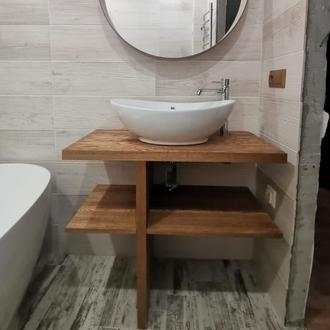 Тумба под раковину чашу из массива дерева Лиственницы Сибирской в ванную