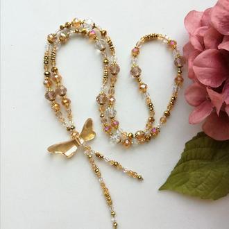 Сотуар золотистый из хрустальных бусин со стрекозой Swarovski elements