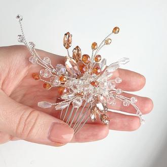 Свадебное украшение для волос, гребешок в прическу, персиковое украшение в прическу