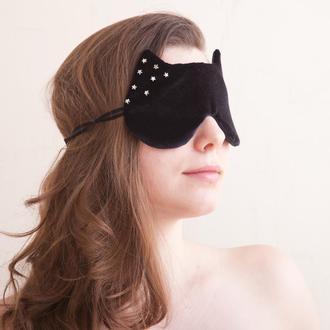 Маска для сна купить Украина, Черная маска для сна звезды, Подарок женщине Cat