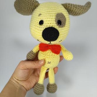 Жёлтый Песик, собака, мягкая игрушка вязаная крючком, ПОДАРОК