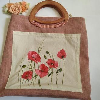 Эксклюзивная льняная сумка с ручной росписью маками