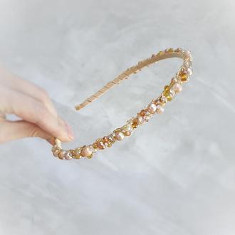 Золотистый ободок, золотой обруч, обруч на выпускной, ободок в прическу
