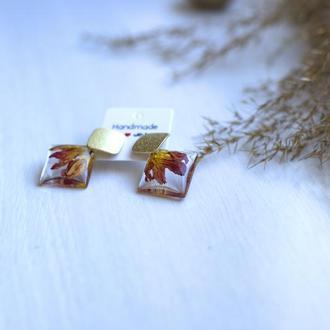 Яркие серьги из эпоксидной смолы с лепестками хризантемы