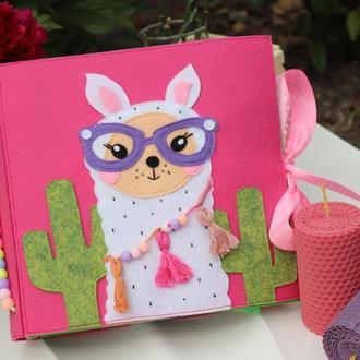 Развивающая фетровая книга с ламой для девочки от 1 года