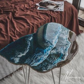 Журнальний столик з натурального каменю і епоксидної смоли. Інтер'єрний журнальний стіл