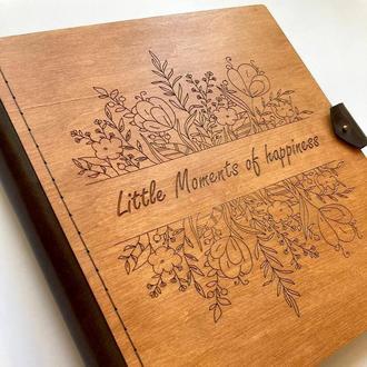 Фотоальбом | Деревянный альбом с индивидуальной гравировкой | Универсальный подарок
