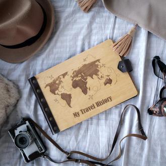 """Фотоальбом с дерева - подарок, тревелбук, """"My travel history"""""""