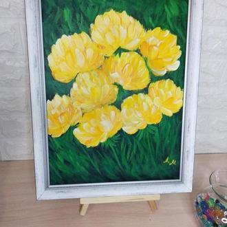 Желтые пионы. Акрил. Интерьерная живопись.