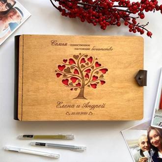 Фотоальбом с дерева | Подарок ручной работы | Свадебный альбом | Натуральная кожа | Для влюбленных |