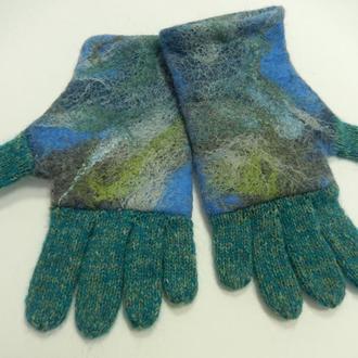 Перчатки валяно-вязанные/Море