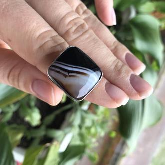 Перстень с натуральным Агатом в серебре. Ручная работа