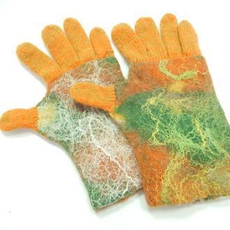 Перчатки валяно-вязанные/Золотая осень