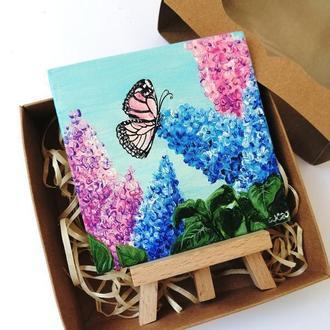 Картина маслом сирень и бабочка, Подарочный набор с картиной, Картина подарок, Подарочный бокс
