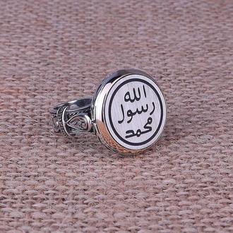 Круглая печатка кольцо из серебра с гравировкой и рисунком ручной работы