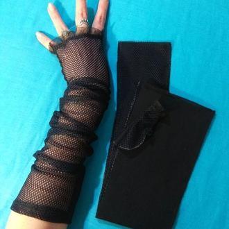 Перчатки без пальцев . Митенки .
