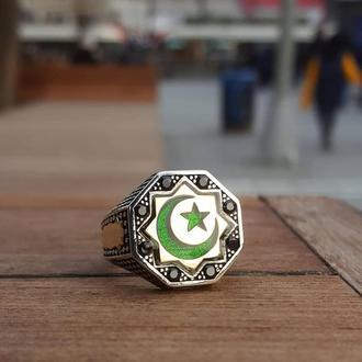 Мусульманская печатка из серебра ручной работы с полумесяцем и звездой