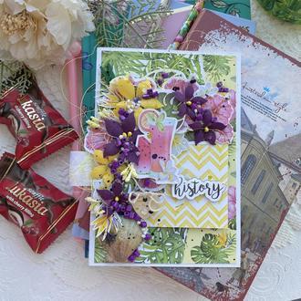 Яркая открытка. Цветочная открытка. Открытка с цветами ручной работы