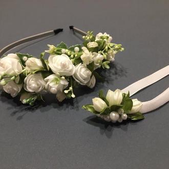 Комплект украшений для невесты,ободок на голову с цветами,чокер на шею с цветами