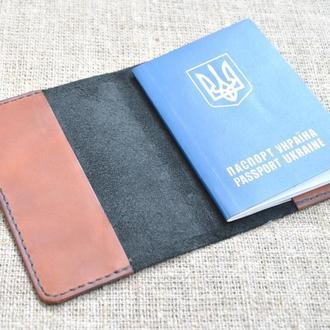 Комбинированная обложка для паспорта из натуральной кожи P01-0+210
