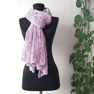 Бузковий шарф з бавовни і льону
