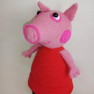 Вязаная игрушка свинка Пеппа, мультяшный герой, экоигрушка