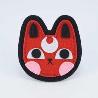 Фетровая Брошь Кот, Красный Милый кот, Значок Кота Фетровый, Милое животное, Подарок девушке