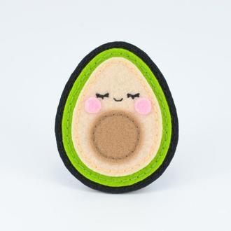 Брошь Авокадо, Брошка фрукт, Милая брошь из фетра, Подарок другу, Веганская брошь