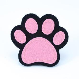 Фетровая Брошь Лапка, Лапка кота, Милый значок, Креативный подарок, Черная лапка