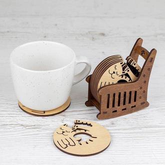 """Набор деревянных подставок для чашек """"CATS"""""""