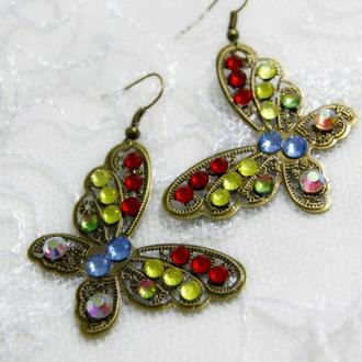 Винтажные серьги Бабочки со стразами Сваровски в стиле Дольче Габбана