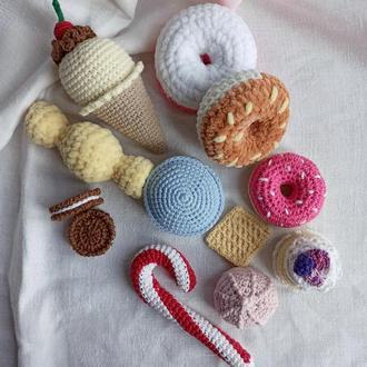 Вязаные сладости, пончики, мороженое, конфеты, печенье