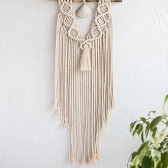 Макраме панно на стіну з морської черепашкою / декор для дому/ настінний декор