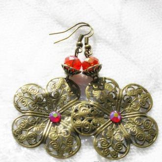Винтажные серьги Цветы со стразами Сваровски в стиле Дольче Габбана