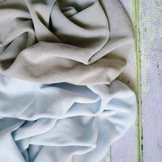 Набор хлопкового велюра серый и светло-голубой