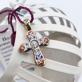 Крест серебро 925 позолота 999 горячая эмаль