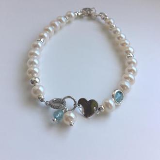 """Оригинальный серебряный браслет из натуральных камней жемчуга и топаза """"Ледяное сердце"""" 💎"""