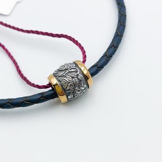 Ювелирная бусина шарм кулон подвеска серебро 925 позолота 999