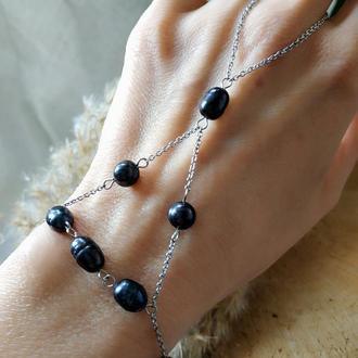 Слейв-браслет из стали с черным жемчугом ′Гроза′