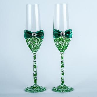 Свадебные бокалы с изумрудными узорами (арт. WG-312)