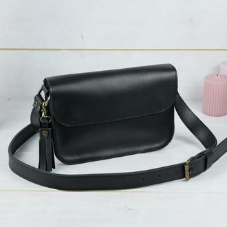 """Кожаная женская сумочка """"Берти"""", кожа итальянский краст, цвет черный"""