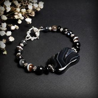 Черный браслет Косточка