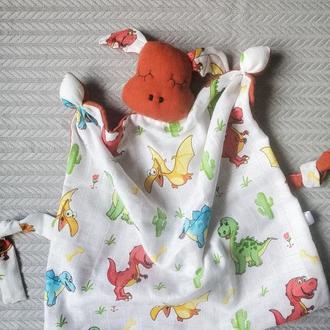 Терракотовый Дракоша. Игрушка комфортер из муслина для сна и раннего развития малыша